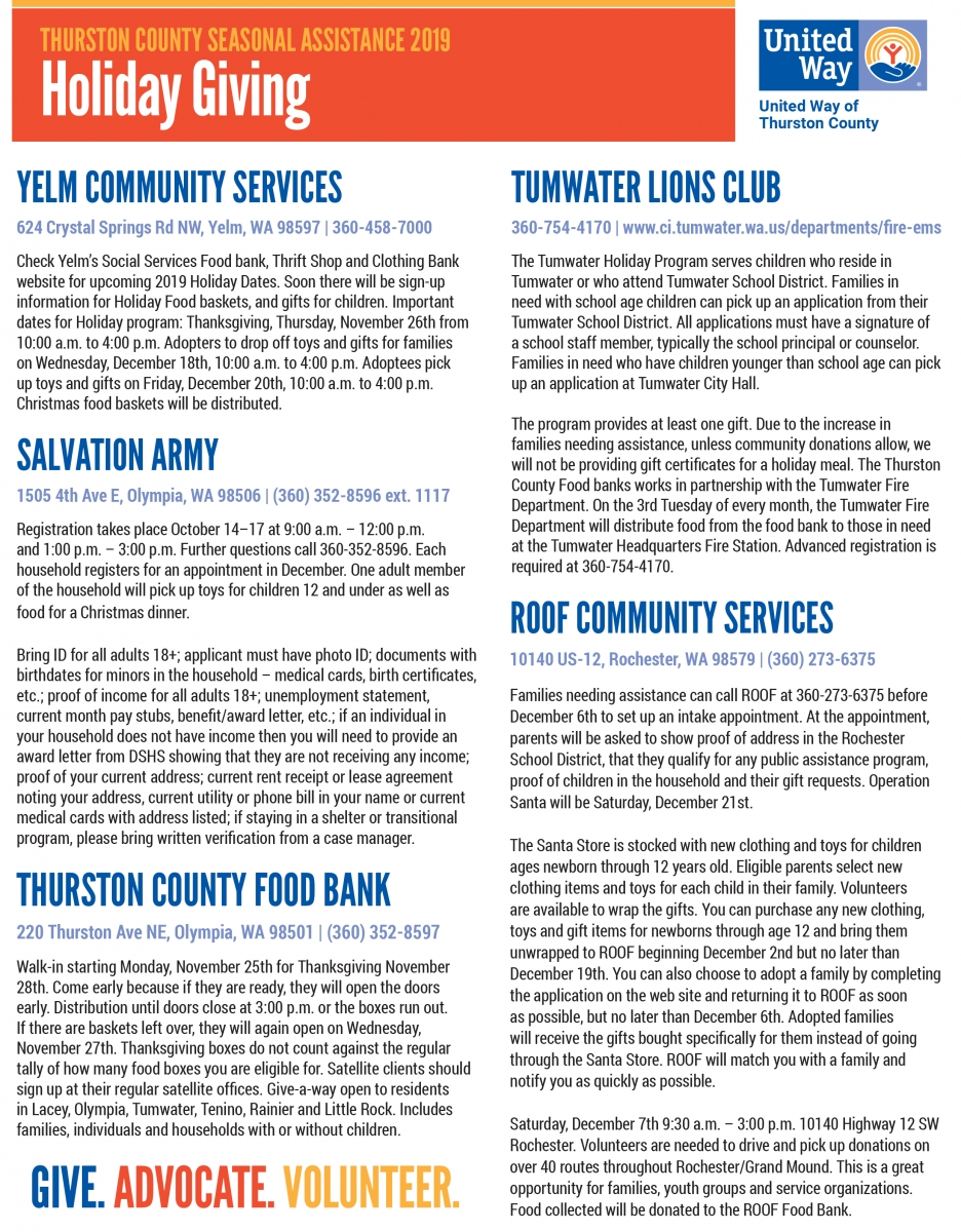 Christmas Assistance Thurston Co 2020 Seasonal Assistance is Available!   United Way of Thurston County